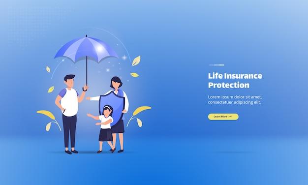 Schutz einer familie mit lebensversicherung auf illustrationskonzept