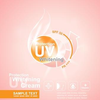 Schutz uv und whitening und serum creme konzept hintergrund.