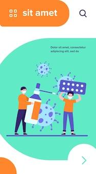 Schutz vor viren. kerl, der pillen hält, sein freund, der mit maske und desinfektionsmittelflachvektorillustration selbst schützt