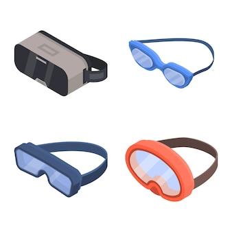 Schutzbrillen-icon-set. isometrischer satz schutzbrillenvektorikonen für das webdesign lokalisiert auf weißem hintergrund