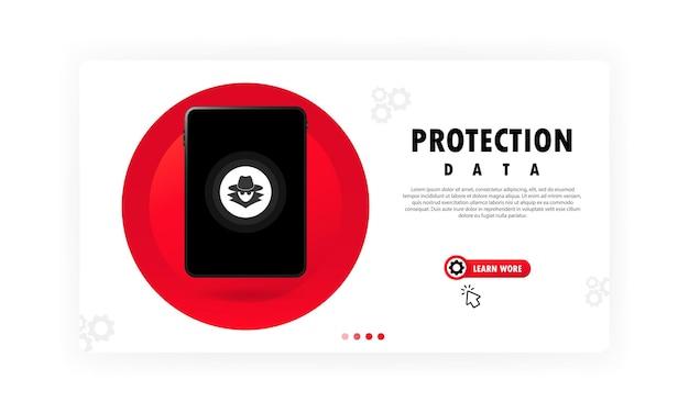 Schutzdaten auf tablet-banner. datenschutz- und internetsicherheitskonzept. vektor auf weißem hintergrund isoliert. eps 10.
