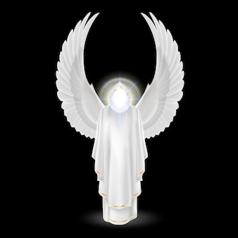 Schutzengel der götter in weiß mit flügeln oben auf schwarzem hintergrund. erzengel bild. religiöses konzept