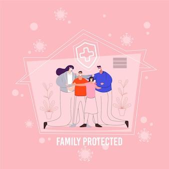 Schutzfamilie, die zusammen im haus bleibt
