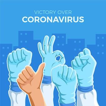 Schutzhandschuhe und sieg über das virus