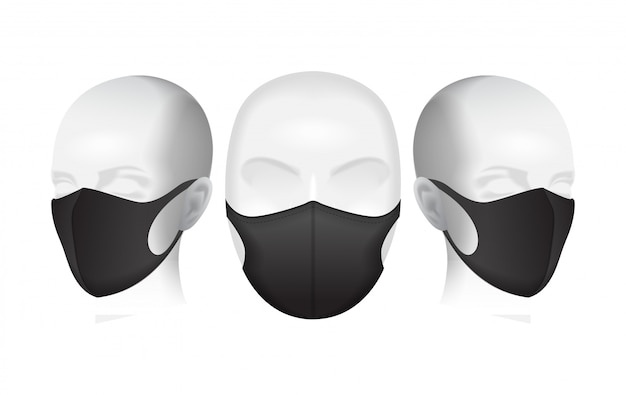 Schutzmaske. schwarze staubmaske auf dem kopf der schaufensterpuppe. luftverschmutzungsillustration
