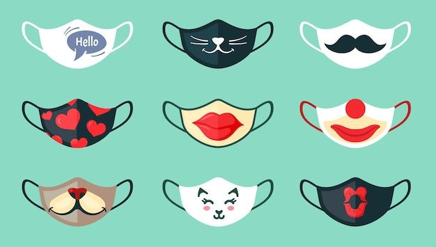 Schutzmasken mit coolen zeichnungen gesetzt