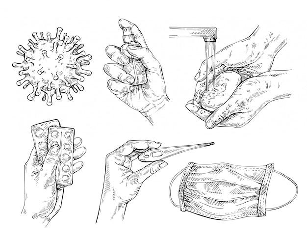 Schutzmaßnahmen gegen coronavirus / covid-19. handwäsche, händedesinfektionsmittel, gesichtsmaske, thermometer und pillen.