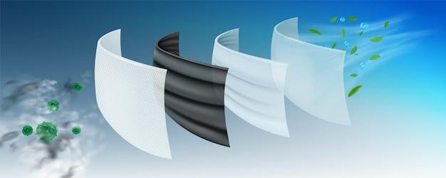 Schutzschicht in der operationsmaske mehrschichtfilter, wirksam gegen viren.
