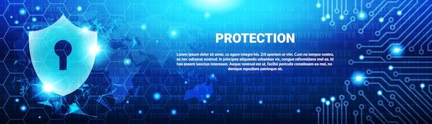 Schutzschild-blaue polygone über stromkreis-hintergrund