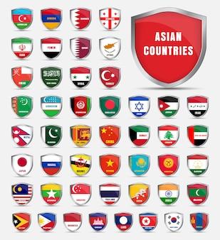 Schutzschild mit flaggen und dem namen der asiatischen länder. schilde setzen