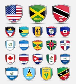 Schutzschild mit flaggen und dem namen der länder nordamerikas. schilde setzen