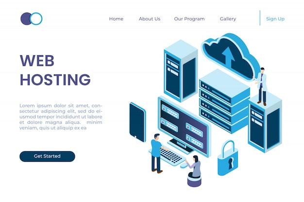 Schutzsystem im server, netzdatenschutz in der isometrischen art der illustration 3d
