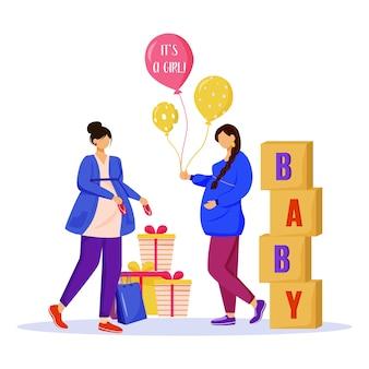 Schwache frauen mit flacher illustration der babypartygeschenke. werdende mütter warten auf baby. damen, die zur mutterschaft isolierte zeichentrickfiguren auf weißem hintergrund vorbereiten