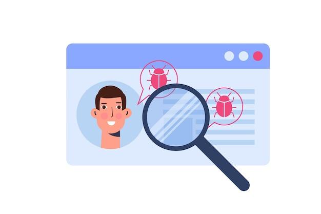Schwachstellen und fehler suchen oder scannen, malware-konzept finden. vektor-illustration.
