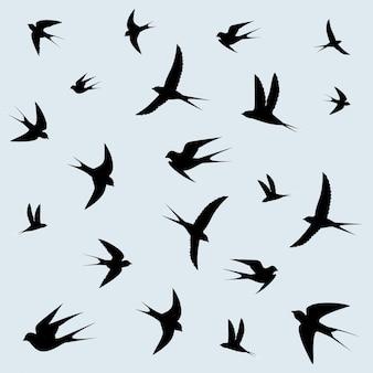 Schwalben fliegen in den himmel