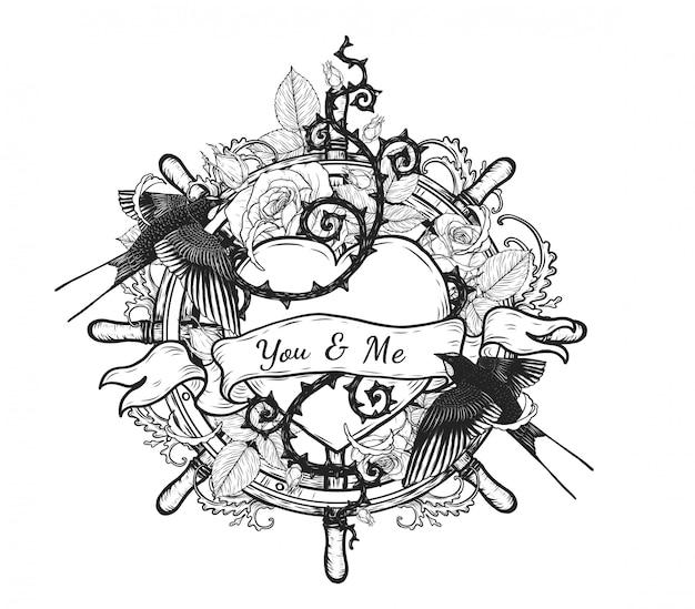 Schwalben mit herz vektor tattoo von hand zeichnen