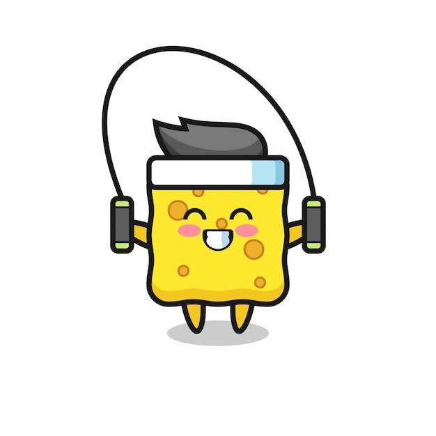 Schwamm-charakter-cartoon mit springseil, süßes design für t-shirt, aufkleber, logo-element