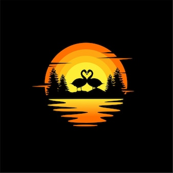 Schwan liebe silhouette illustration vektor tier logo design orange sonnenuntergang bewölkter meerblick
