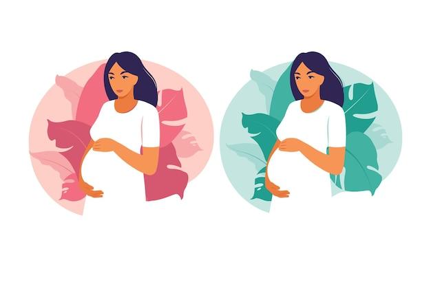 Schwangere frau des porträts im kleid auf betriebshintergrund. gesundheit, pflege, schwangerschaft. vektor-illustration. eben