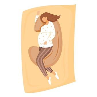 Schwangere frau, die auf schwangerschaftskissenillustration schläft. warten auf baby. vorbereitung auf die mutterschaft. mädchen, das auf bett im pränatalen zeitkarikaturcharakter auf weißem hintergrund entspannt