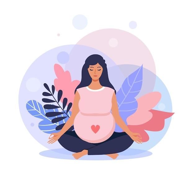 Schwangere frau, die beim sitzen im lotussitz meditiert. die werdende mutter macht yoga. vektor-illustration