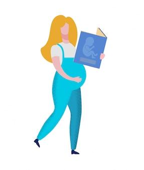 Schwangere frau, die buch mit baby-embryo hält