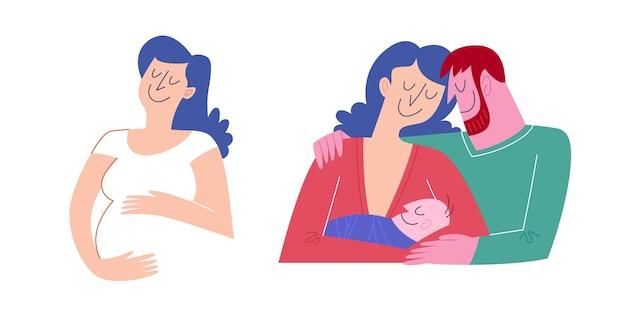 Schwangere frau, die einen bauch umarmt, und ihre familie, die das neugeborene umarmt und ansieht. flach süß