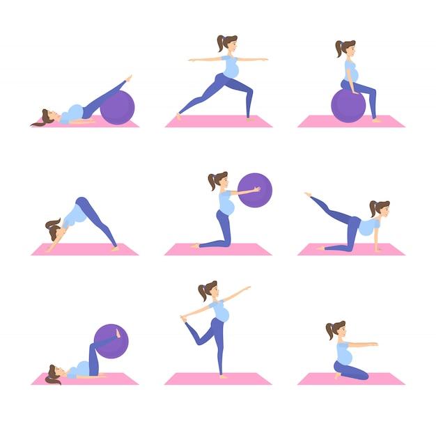 Schwangere frau, die fitness-set tut. übungen mit fitball.