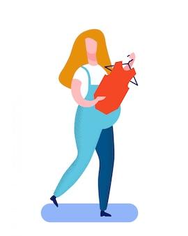 Schwangere frau, die flache vektor-illustration kauft