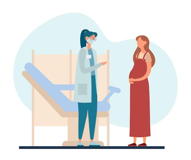 Schwangere frau, die geburtshelferin in der modernen klinik besucht