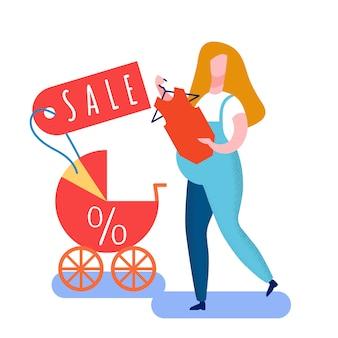 Schwangere frau, die kinderwagen-illustration wählt