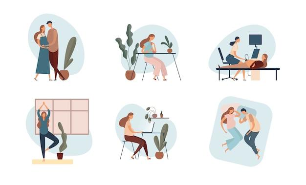 Schwangere frau, die verschiedene aktivitäten zu hause und im krankenhaus ausführt