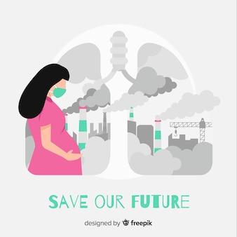 Schwangere frau, die voll in einer stadt der verschmutzung lebt