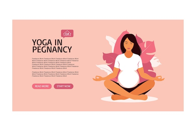 Schwangere frau, die vorgeburtliches yoga tut. vorlage für die zielseite. vektor-illustration. vektor. eben