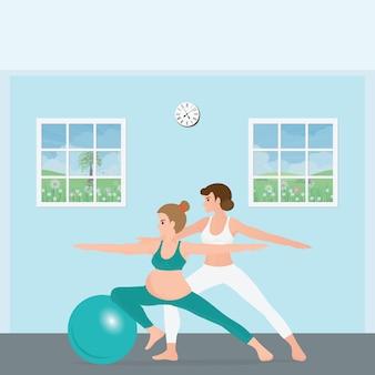 Schwangere frau, die yoga mit einem trainer tut.