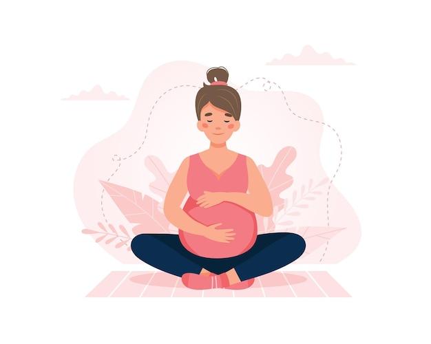 Schwangere frau, die yoga tut. schwangerschaftsgesundheit, meditationskonzept. vektor-illustration.