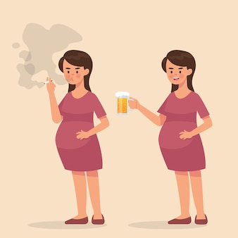 Schwangere frau, die zigarette raucht und ein bier trinkt