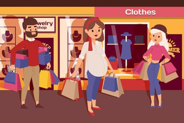 Schwangere frau im einkaufszentrum mit familien- und freundillustration