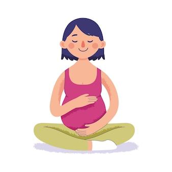 Schwangere frau macht yoga und entspannung, verbunden mit dem baby