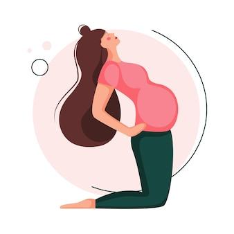 Schwangere frau macht yoga. vorgeburtliche übung. schöne schwangere frau sitzt in der asana. in der flachen zeichentrickfigur lokalisiert auf weißem hintergrund.