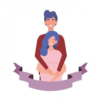 Schwangere frau mit ehemann mit dekorativem farbband