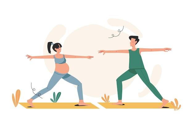 Schwangere frau mit ihrem partner in einer yoga-pose