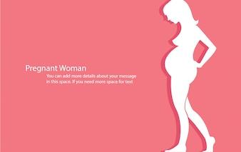 Schwangere Frau mit rosa Hintergrundvektor