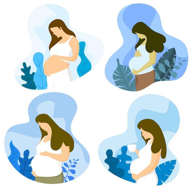 Schwangere frau mit schöner blumendekoration.