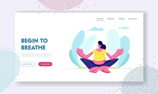 Schwangere frau sitzt in lotus pose und macht yoga meditation.