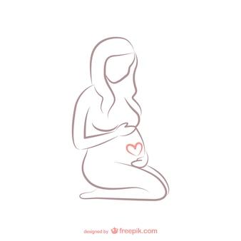 Schwangere frau umriss