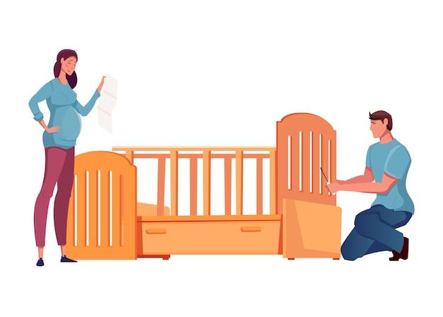 Schwangere frau und mann, die hölzernes babybett zusammenbauen