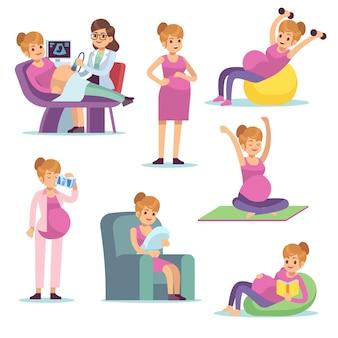 Schwangere frau. weibliche ernährung der schwangerschaft, die das trinken, das sitzen tut, übungen macht, zeichentrickfiguren