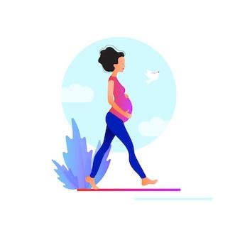 Schwangere frau zu fuß. aktive gut sitzende schwangere weibliche figur. fröhliche schwangerschaft. yoga und sport für schwangere. flache cartoon-illustration