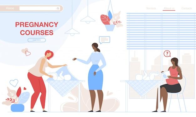 Schwangere frauen, die lernen, sich um neugeborenen-landingpage-schablone zu kümmern